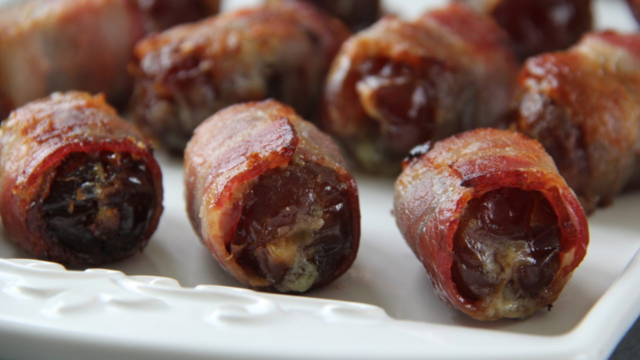 Bacon Wrapped Dates Stuffed with Gorgonzola