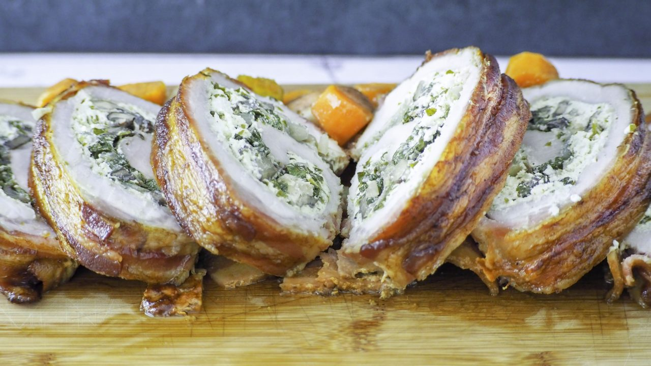 Bacon Wrapped Pork Loin Stuffed with Herbed Goat Cheese, Spinach, & Mushrooms