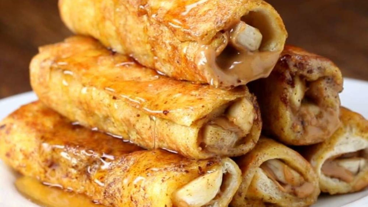 Banana Peanut Butter French Toast Roll-Up