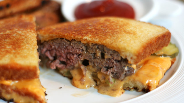 Burger Patty Melt with Hot Sriracha Mayo