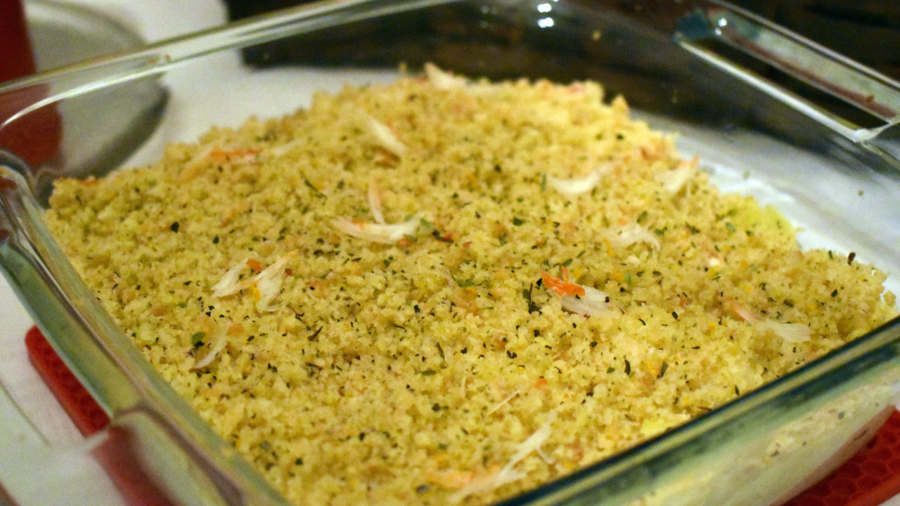 Cheesy Amish Pasta Crab Bake with Citrus Orange Focaccia Crumble