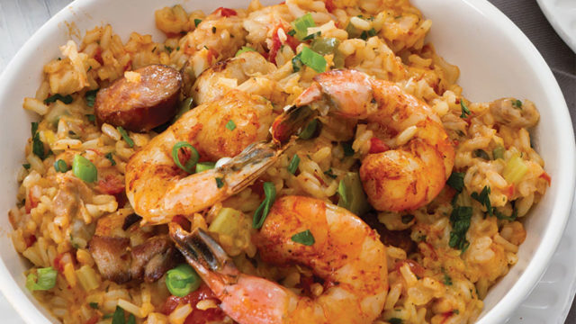 Chicken, Andouille and Shrimp Jambalaya