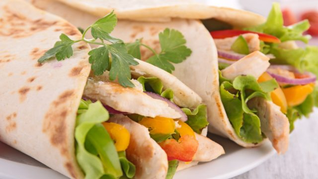 Chicken Rice and Nectarine Wraps
