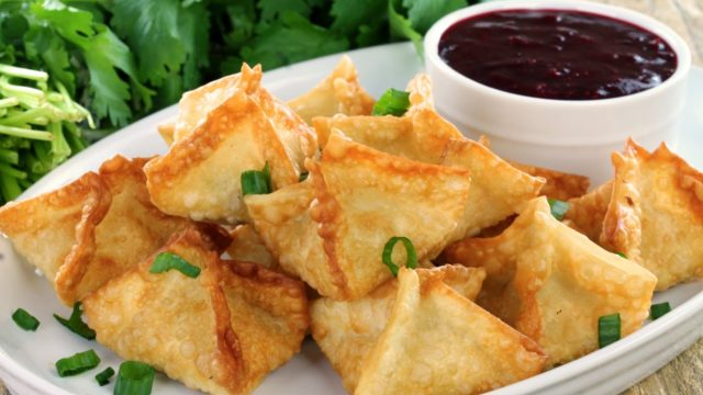 Crab Rangoons with Cranberry Sweet and Sour Dipping Sauce