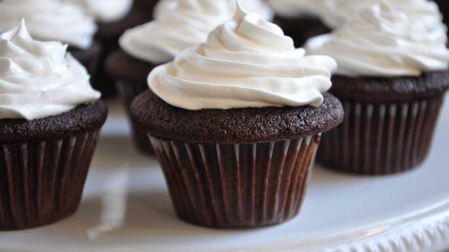 Devil's Food Cupcakes with Angel Frosting