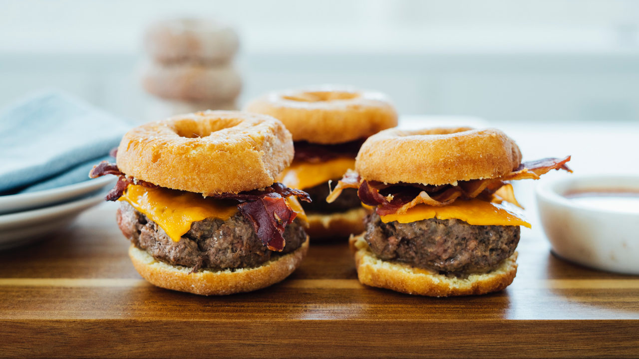 Donut Burger with Cheddar & Bacon
