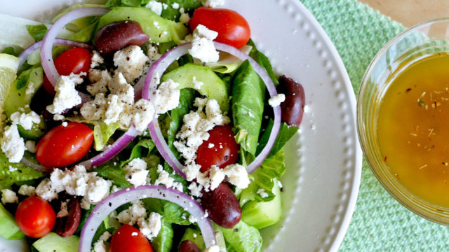 Greek Salad with Lemon Garlic Dressing