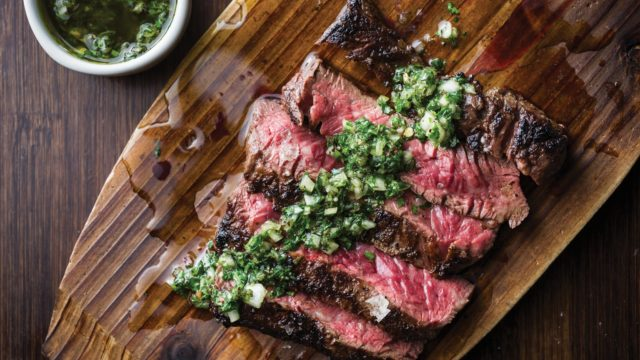 Grilled Beef Skirt Steak with Onion Marinade