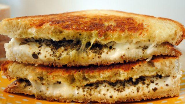 Grilled Pesto & Mozzarella Cheese Sandwich