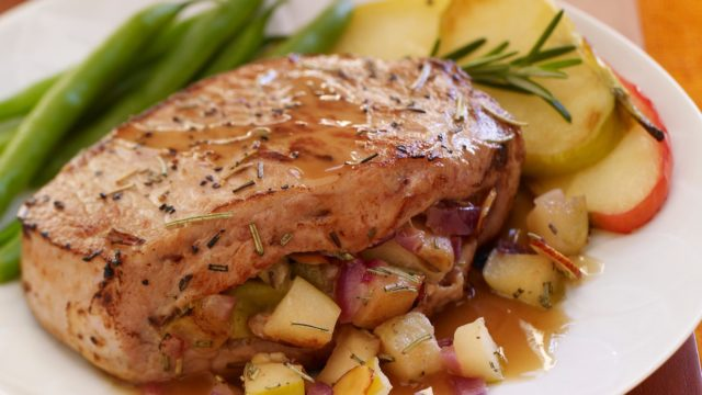 Honey Rosemary Stuffed Pork Chops