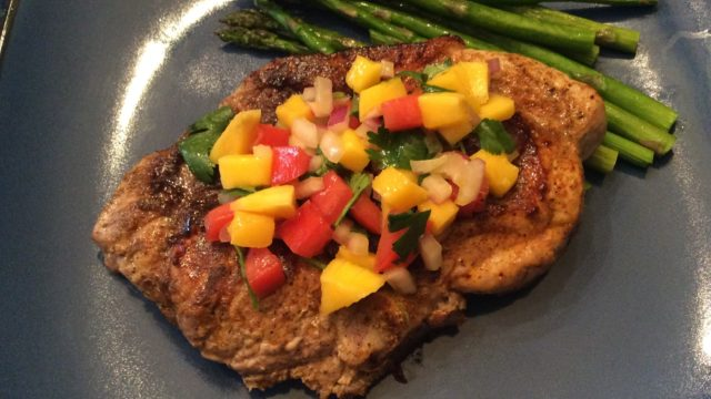 Mediterranean Pork Chops with Mango Salsa