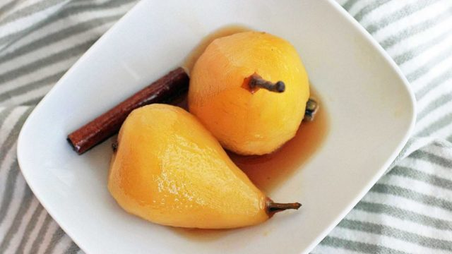 Poached Pears in Spiced Honey Syrup