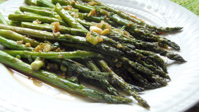 Roasted Asparagus with Ginger Soy Sesame Dressing