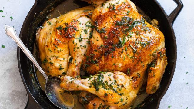Roasted Lemon Garlic Butter SpatchCock Chicken
