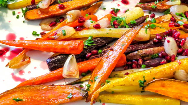 Roasted Rainbow Carrots with Sweet Potatoes and Pomegranate