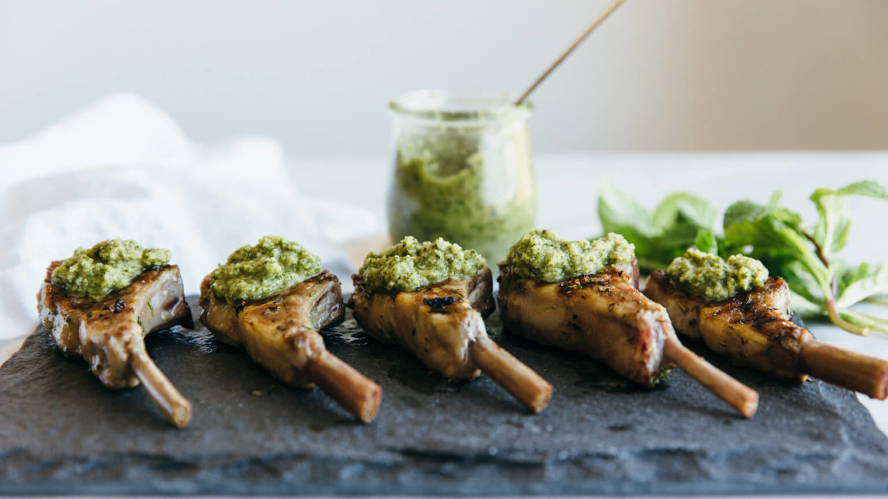 Rosemary Grilled Lamb Chops with Mint Apple Sauce