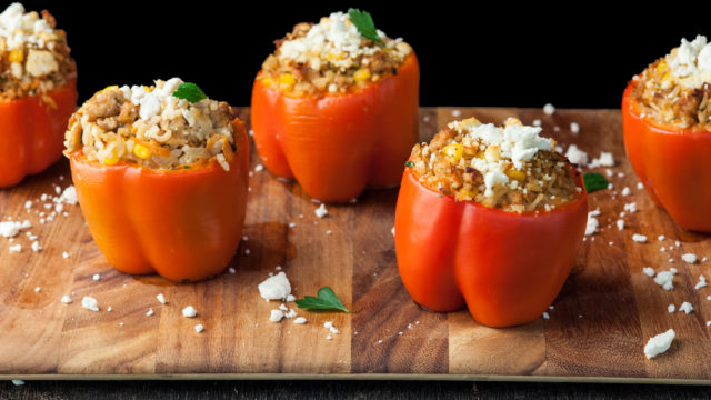Stuffed Red Bell Peppers with Ground Chicken